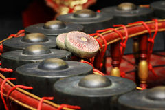 Instrumento musical tailandês, instrumento do gongo para o ritmo (focu seleto Fotografia de Stock Royalty Free
