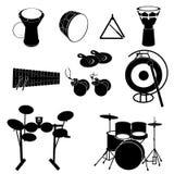 Instrumentoes de percusión - tambores, gongo, triángulo y más Fotografía de archivo libre de regalías