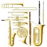 Instrumentoes de viento Fotos de archivo