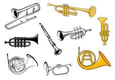 Instrumentoes de viento en estilo del bosquejo y de la historieta Fotografía de archivo libre de regalías