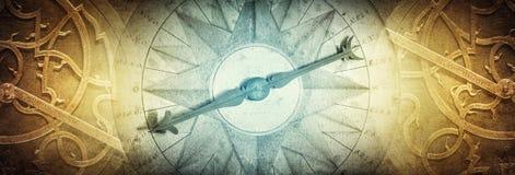 Instrumentos astronómicos antiguos en fondo del papel del vintage Ab imagenes de archivo