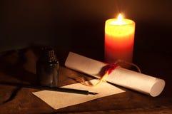 Instrumentos de la escritura de la vendimia Foto de archivo libre de regalías
