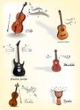 Instrumentos de música clásicos Imagen de archivo libre de regalías