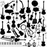 Instrumentos de música da silhueta Imagens de Stock