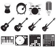 Instrumentos de música de la etapa fijados Imagen de archivo