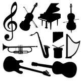 Instrumentos de música del vector - silueta Foto de archivo