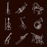 Instrumentos de música do vetor ilustração stock
