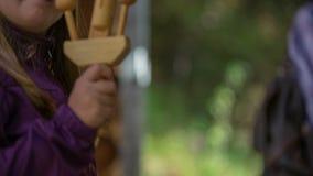 Instrumentos de madera en la pequeña casa de madera