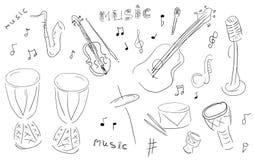 Instrumentos de música del bosquejo fijados Fotos de archivo libres de regalías