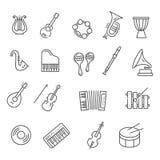 Instrumentos de música Iconos del vector Imagen de archivo libre de regalías