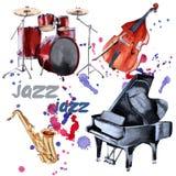 Instrumentos del jazz Saxofón, piano, tambores y bajo doble Aislado en el fondo blanco stock de ilustración