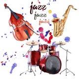 Instrumentos del jazz Saxofón, tambores y bajo doble Aislado en el fondo blanco ilustración del vector