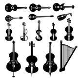 Instrumentos diferentes da corda Foto de Stock