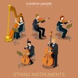 Instrumentos e músicos da corda Imagens de Stock