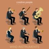 Instrumentos e músicos de vento Fotos de Stock Royalty Free