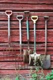 Instrumentos en la pared planked Foto de archivo libre de regalías