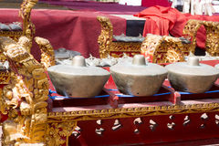 Instrumentos gamelan únicos de la orquesta, Nusa Penida, Indonesia Fotografía de archivo