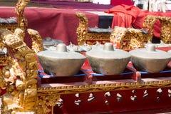 Instrumentos gamelan originais da orquestra, Nusa Penida, Indonésia Fotografia de Stock