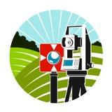 Instrumentos geodésicos y símbolo de los campos del verde ilustración del vector