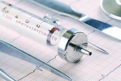 Instrumentos médicos anticuados que mienten en el papel de ECG imagen de archivo