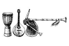 Instrumentos musicais étnicos Imagem de Stock Royalty Free