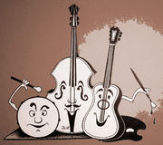Instrumentos musicais alegres Fotos de Stock Royalty Free