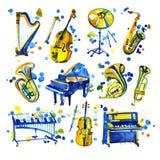 Instrumentos musicais da aquarela bonito que incluem o piano, o violino, o saxofone, o cilindro, e o outro, estilo do vintage Imagem de Stock