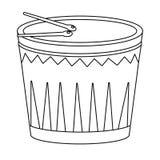 Instrumentos musicais do cilindro em preto e branco ilustração stock
