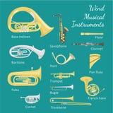 Instrumentos musicais do vento Fotografia de Stock