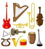 Instrumentos musicais dos desenhos animados ilustração stock