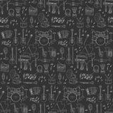 Instrumentos musicais e fundo sem emenda dos símbolos Imagem de Stock Royalty Free