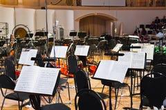 Instrumentos musicais e música de folha Imagem de Stock Royalty Free
