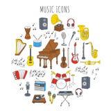 Instrumentos musicais e símbolos Imagem de Stock Royalty Free