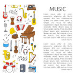 Instrumentos musicais e símbolos Foto de Stock