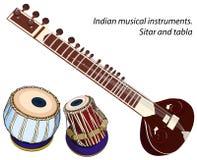 Instrumentos musicais indianos - sitar e tabla Imagem de Stock Royalty Free