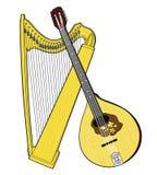 Instrumentos musicais nacionais irlandeses Harpa e irlandês celtas Bouzouki Fotos de Stock Royalty Free