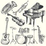 Instrumentos musicales stock de ilustración