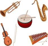 Instrumentos musicales aislados en blanco ilustración del vector