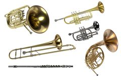 Instrumentos musicales de cobre amarillo Fotografía de archivo