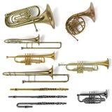 Instrumentos musicales de cobre amarillo Foto de archivo libre de regalías
