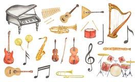 Instrumentos musicales de la acuarela fijados Fotos de archivo