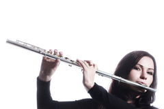 Instrumentos musicales de la flauta aislados Fotografía de archivo