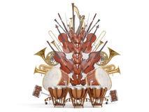 Instrumentos musicales de la orquesta aislados en la representación blanca 3D stock de ilustración