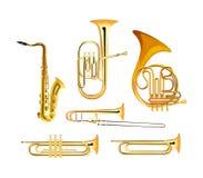 Instrumentos musicales de la orquesta del viento de cobre amarillo ilustración del vector