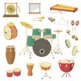 Instrumentos musicales de la percusión Imagen de archivo