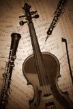 Instrumentos musicales de la vendimia retros Imagen de archivo libre de regalías
