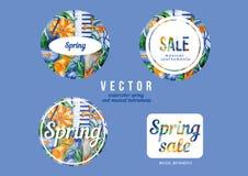 Instrumentos musicales de la venta de la primavera libre illustration