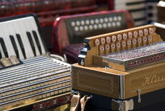 Instrumentos musicales del acordión Imagen de archivo libre de regalías
