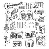 Instrumentos musicales en estilo Handdrawn Vector ilustración del vector