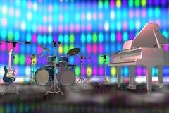 Instrumentos musicales en una etapa Fotos de archivo libres de regalías